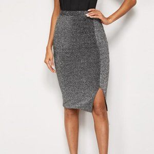Dresses & Skirts - NEW Sexy Metallic Silver & Black Skirt